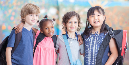 female kid: Friendship at primary school. Happy children. Stock Photo