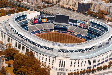stadium: NEW YORK CITY - MAY 22, 2013: Yankee Stadium, aerial view. Home of the Yankees it is situated in the Bronx and can host 50000 for Baseball Games
