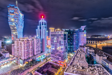 Macau night skyline, China.