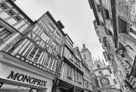 archiitecture: ROUEN, FRANCE - JUNE 13, 2014: City medieval archiitecture. Rouen has more than 3 million visitors annually.