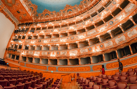 renowned: VENICE - APRIL 7, 2014: Interior of La Fenice Theatre. Teatro La Fenice, The Phoenix, is an opera house, one of the most famous and renowned landmarks in the history of Italian theatre. Editorial