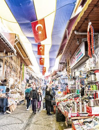 bazar: ISTANBUL, SEP 22: People shopping in the Grand Bazar in Istanbul, Turkey, one of the largest covered markets in the world, Istanbul, September 22, 2014.