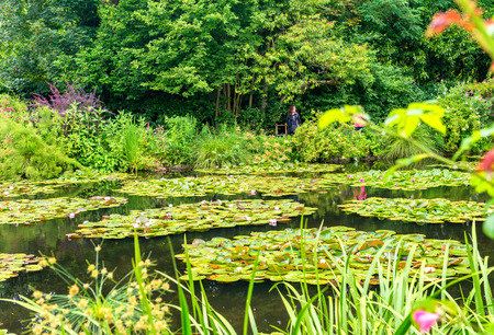 France Giverny Monets garden on a spring day. Stock Photo