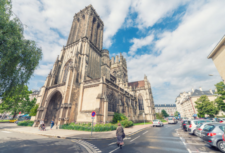 annually: CAEN, FRANCE - Church of Sain Jean. Caen medieval architecture attracts 3 million people annually. Editorial