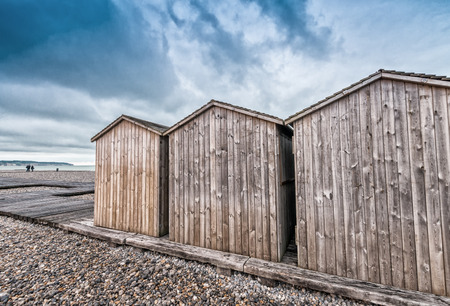 Wooden Cabins along the ocean. photo