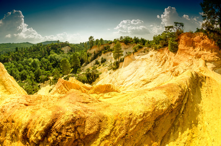 yellow ochre: Beautiful summer view of Colorado Provencal - Provence, France. Stock Photo