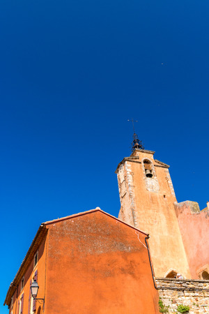 roussillon: View on beautiful medieval village of Roussillon. Roussillon ocher village is included in list of The most beautiful villages of France. Stock Photo