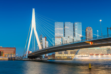 Rotterdam skyline from Erasmus Bridge. Stock Photo