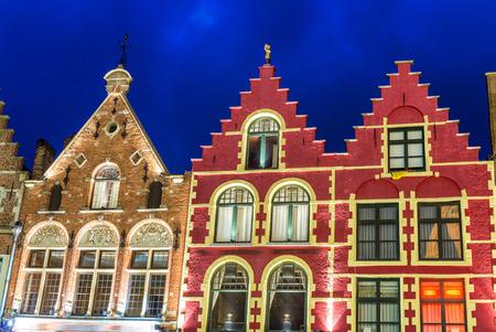 bruges: Beautiful night in Market Square, Bruges - Belgium. Stock Photo
