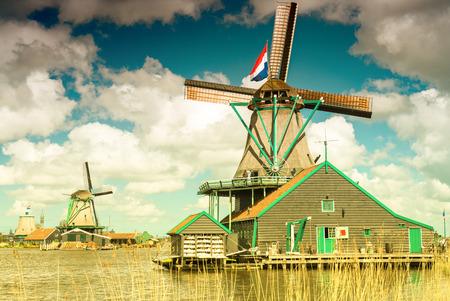 zaanse: Wind mills in Zaanse Schans, Netherland. Holland.