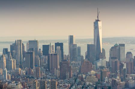 뉴욕 고층 빌딩 - 맨하탄의 놀라운 스카이 라인. 스톡 콘텐츠