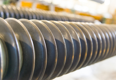 Machine for cutting steel coils.