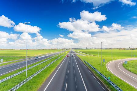 고속도로 도로 횡단 시골. 스톡 콘텐츠