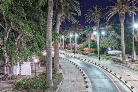 kos: Kos, Greece. Island streets at night in summer. Stock Photo
