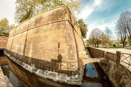 lucca: Ancient walls of Lucca, Tuscany. Editorial