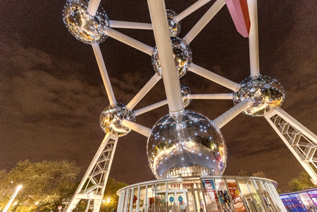 constructed: BRUSSELS - MAY 1, 2015: The Atomium at night. The Atomium is a building in Brussels originally constructed for Expo 58, the 1958 Brussels Worlds Fair.