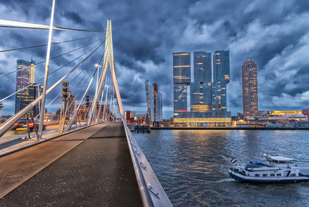 Rotterdam skyline. Beautiful view after sunset.