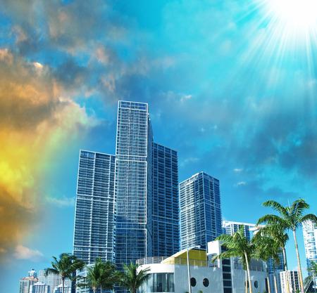 miami florida: Miami skyline at dusk.