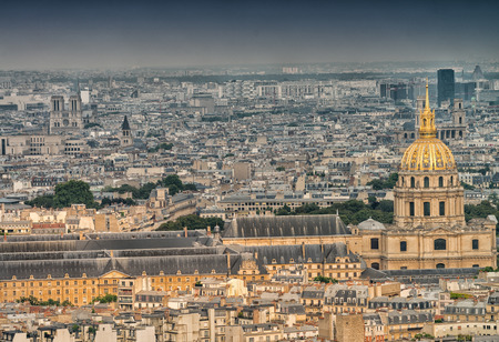 Aerial view of National Residence of the Invalides in Paris, France