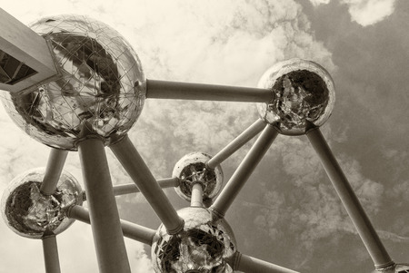 constructed: BRUSSELS - MAY 1, 2015: The Atomium modern structure. The Atomium is a building in Brussels originally constructed for Expo 58, the 1958 Brussels Worlds Fair. Editorial