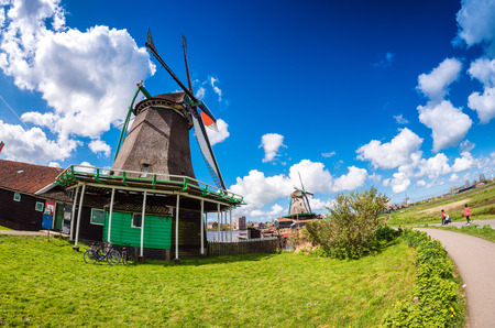 zaanse: Architectural detail of Zaanse Schans, Netherlands. Stock Photo