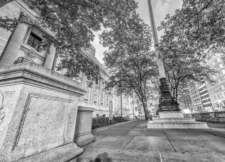 fifth avenue: The Public Library and Fifth Avenue at sunset, Manhattan - New York City. Stock Photo
