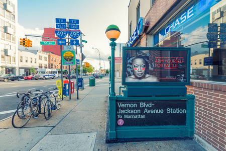 ave: NEW YORK CITY - JUNE 8, 2013: Vernon Blvd - Jackson Ave Station entrance. Going by subway is the preferred way on transit for New Yorkers. Editorial