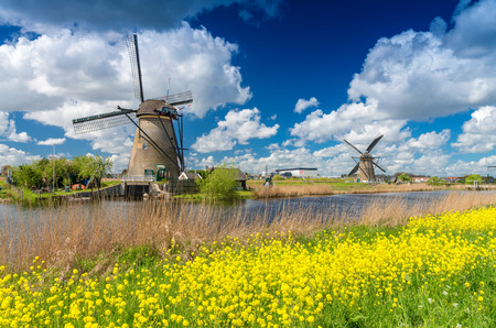 Windmills of Kinderdijk, Netherlands.