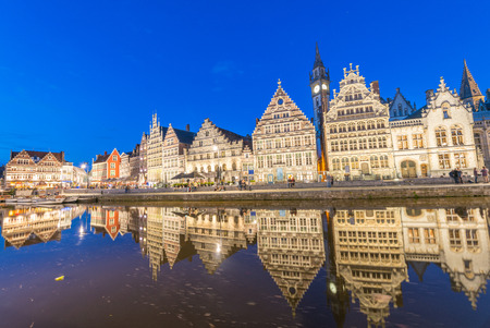 Medieval city of Gent along canal, Belgium.