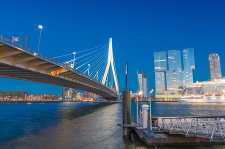 defined: Rotterdam is a city defined by modern architecture - Night skyline. Stock Photo