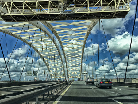 modern bridge: Driving on a modern bridge.