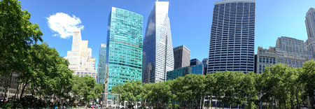 bryant park: Buildings and trees of Bryant Park, New York.