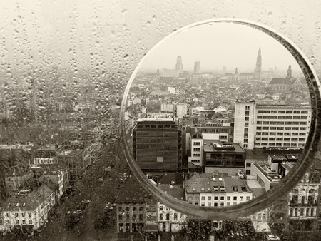 antwerp: Antwerp through a glass porthole.