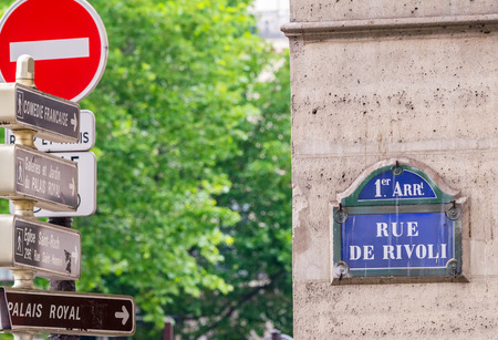 Rue de Rivoli street sign in Paris.