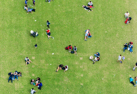 high view: Ninety degrees view of people relaxing on a meadow. Stock Photo