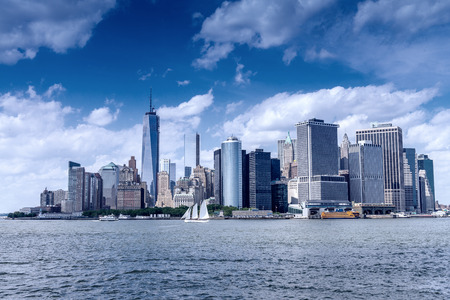downtown manhattan: Beautiful skyline of Downtown Manhattan on a sunny day. Stock Photo