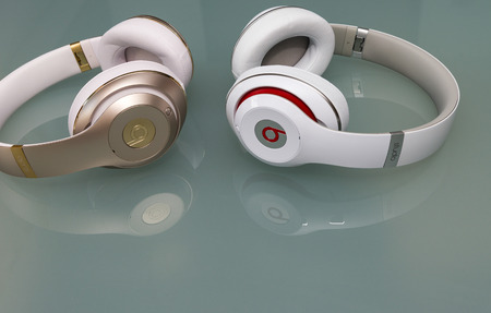 wired: PISA, ITALY - MAY 26, 2015: Beats studio wireless an wired headset. Beats by Dr. Dre has been acquired by Apple.