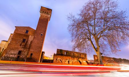 citadel: Pisa, Italy. The Citadel landmark at night. Stock Photo