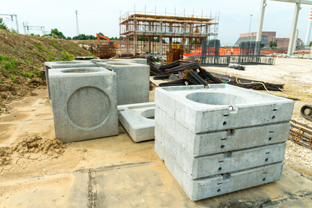 concrete commercial block: Material for construction site. Stock Photo