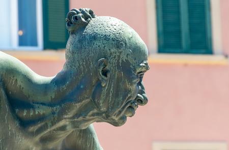 mori: Monument to the Four Moors - I Quattro Mori - Leghorn, Italy. Stock Photo