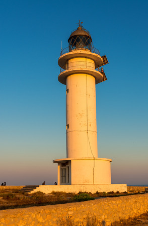 formentera: Lighthouse in Formentera at sunset.