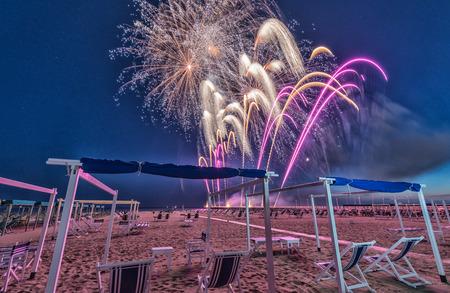 Fireworks on a beautiful beach.