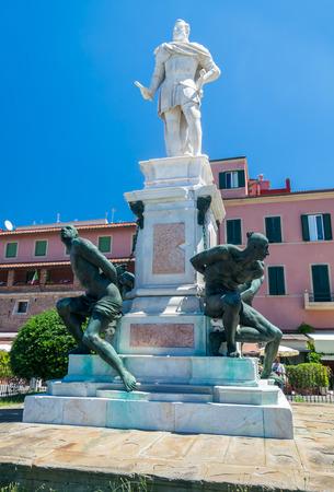 leghorn: Monument to the Four Moors - I Quattro Mori - Leghorn, Italy. Stock Photo