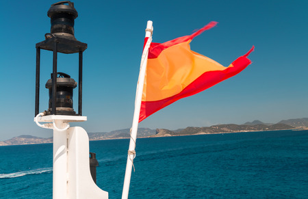 formentera: Spain flag on a boat, Formentera. Stock Photo