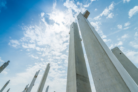 concrete structure: Reinforced concrete piles of the new building: