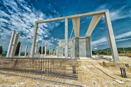 contruction: Building construction site. Stock Photo