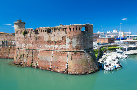The old fortress Fortezza Nuova in Livorno, Tuscany, Italy, surrounded by a navigable moat, It was built to defend the city from attack by pirates