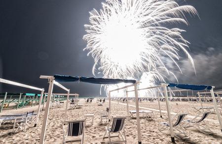 artifice: Fireworks on a beautiful beach.