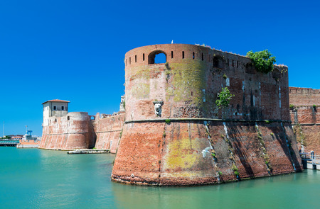 navigable: The old fortress Fortezza Nuova in Livorno, Tuscany, Italy, surrounded by a navigable moat, It was built to defend the city from attack by pirates