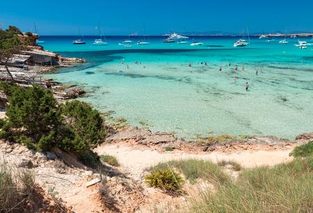 Cala Saona beach in Formentera, Spain.